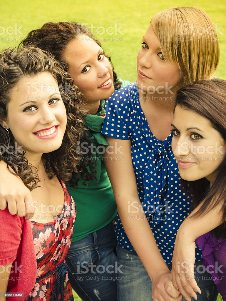 Cheerful friends laughing and have fun royalty-free stock photo