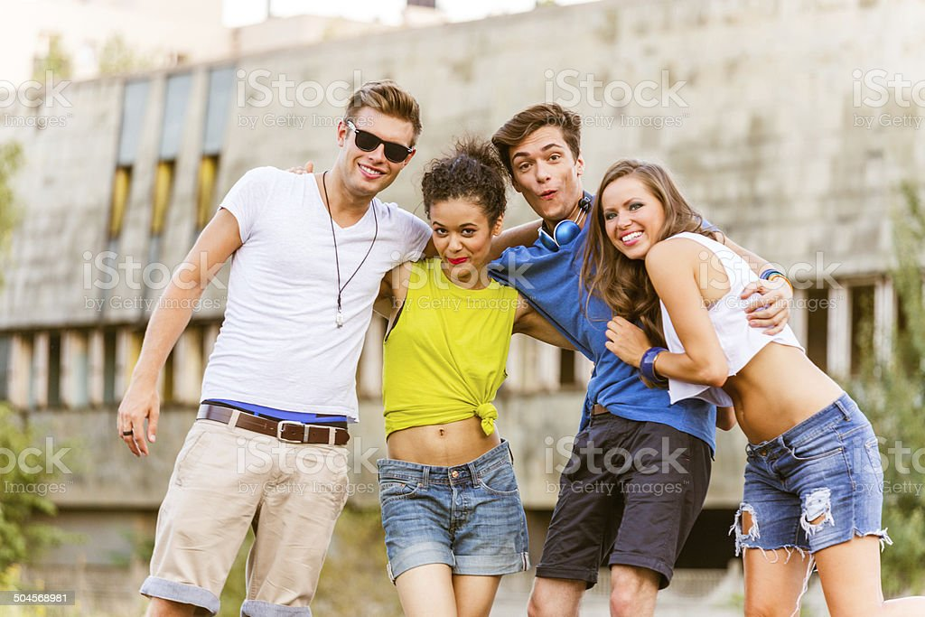 Cheerful friends Outdoor portrait of happy young people. 20-24 Years Stock Photo
