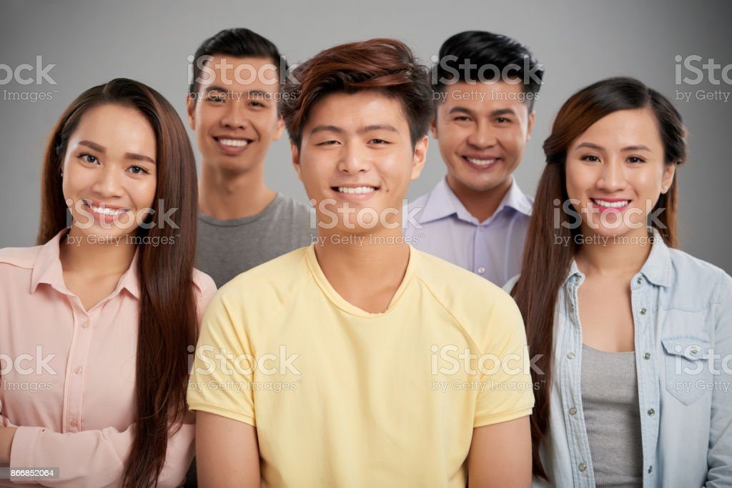 Cheerful friends stock photo