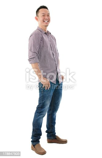 istock Cheerful full body Asian man 178847503