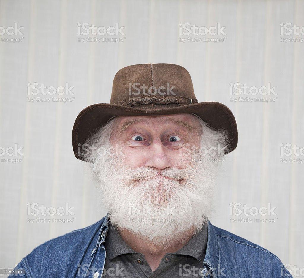Frohlich Lustige Deutsche Alter Mann Grosse Augen Mit Ledermutze