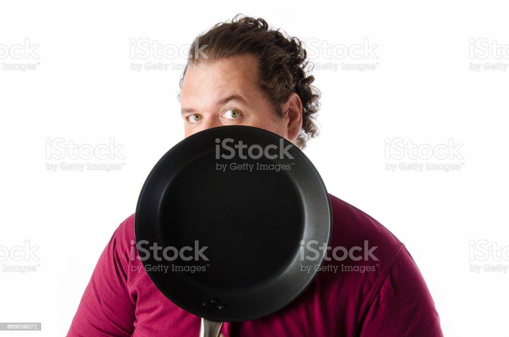 Frohlich Lustige Koch Kuchenhelfer Fetter Kerl Pan Stock Fotografie
