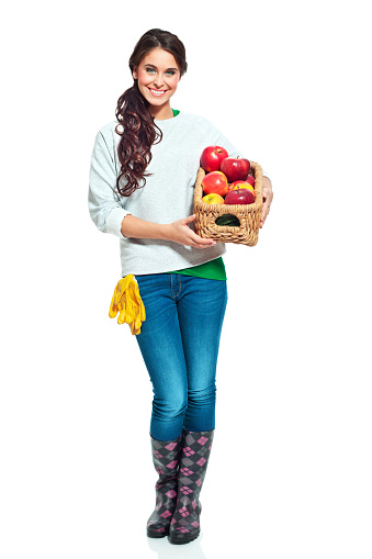 Cheerful Gardener With Apples Stock Photo - Download Image Now