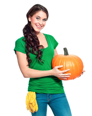 Cheerful Gardener With Pumpkin Stock Photo - Download Image Now