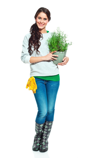 Cheerful Gardener With Rake Stock Photo - Download Image Now