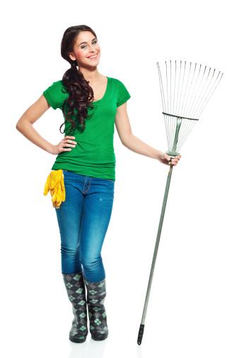 Cheerful Gardener With Rake Stock Photo - Download Image Now