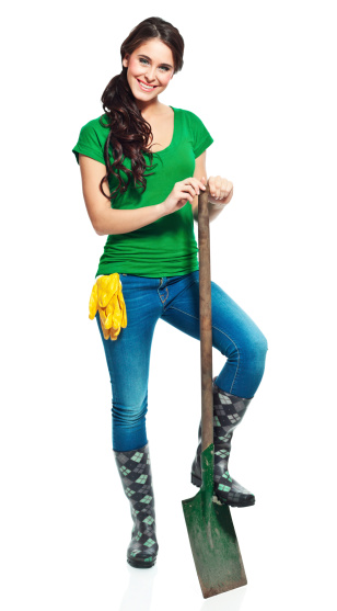 Cheerful Gardener With Spade Stock Photo - Download Image Now