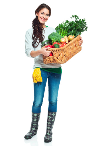 Cheerful Gardener With Vegetables Stock Photo - Download Image Now