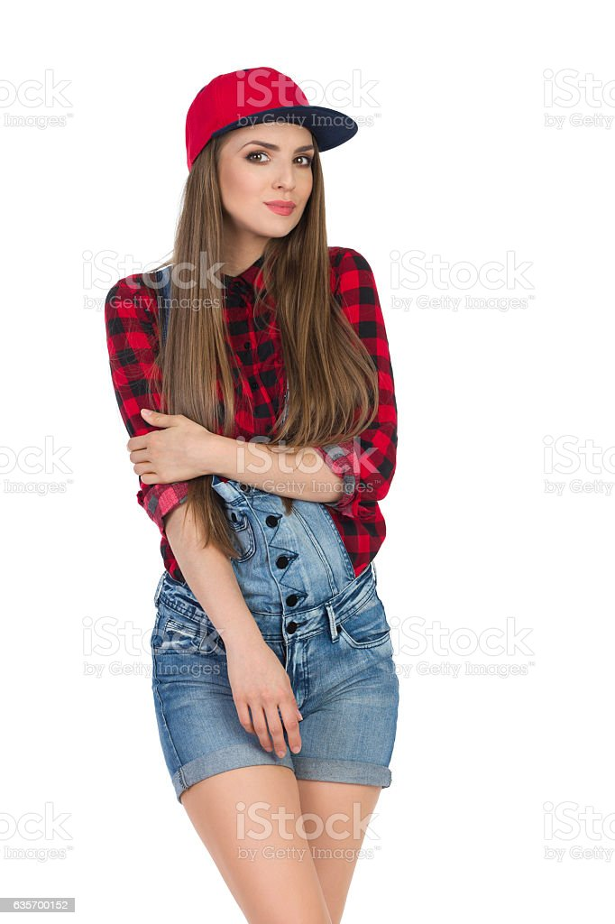 Cheerful Girl In Red Full Cap royalty-free stock photo