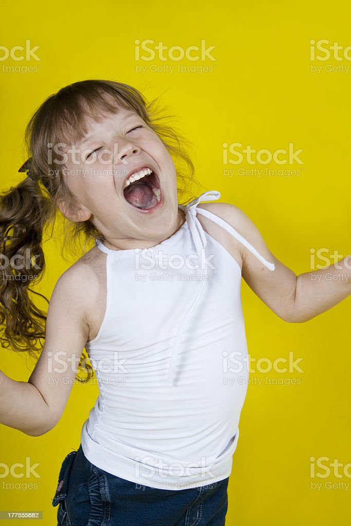 Cheerful girl shouts in ecstasy royalty-free stock photo