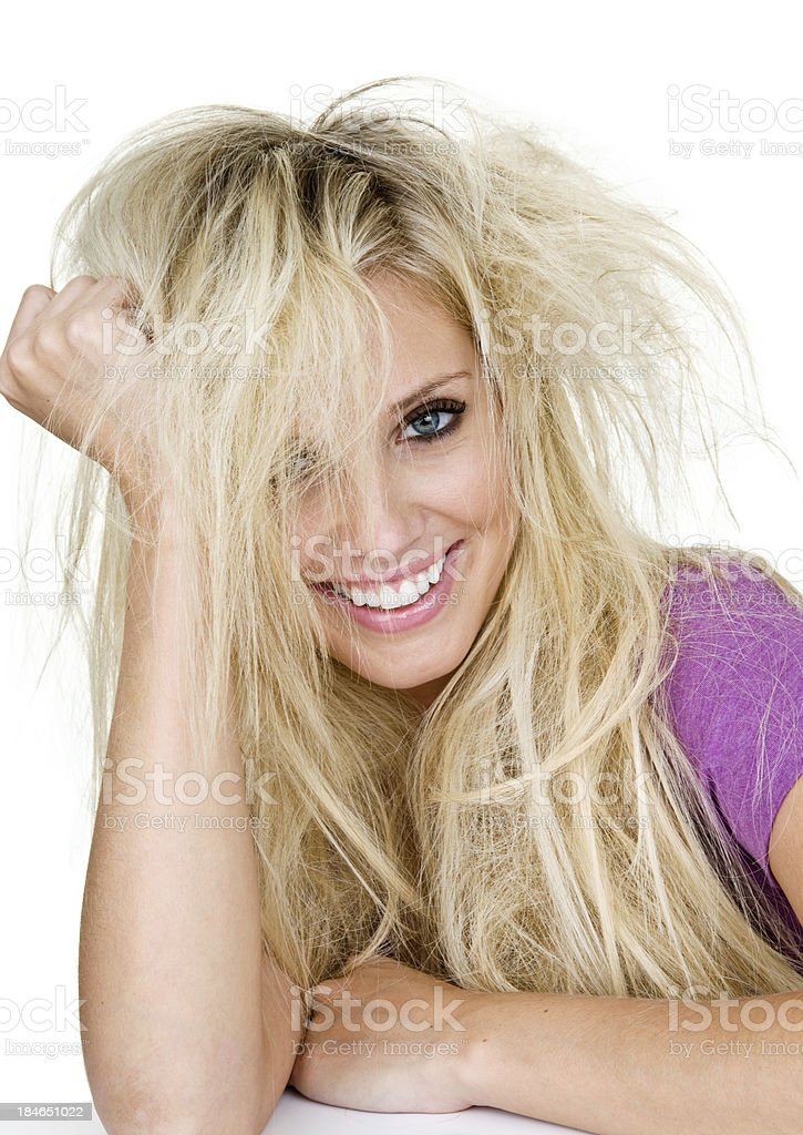 Cheerful girl with messy hair royalty-free stock photo