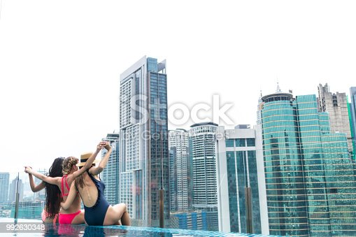 istock Cheerful girlfriends sitting on poolside and enjoying the view 992630348
