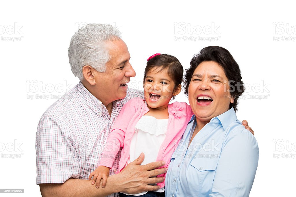 Alegre abuelo con granddaughter - foto de stock