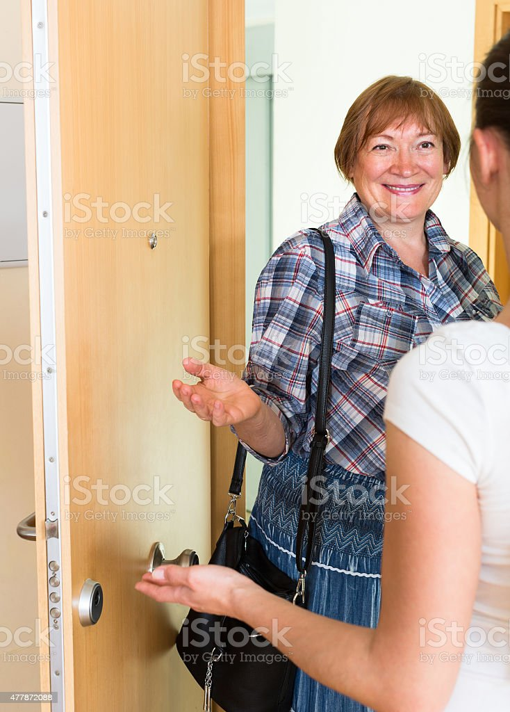Cheerful greeting of two women at the door stock photo