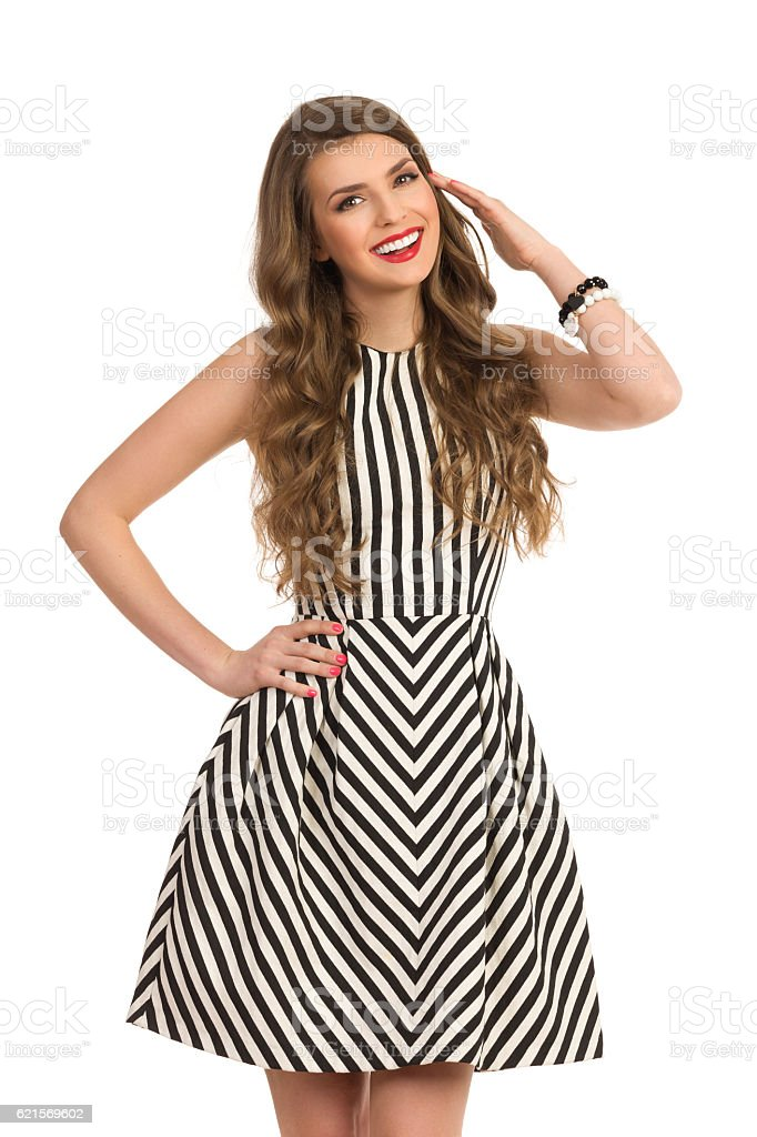 Cheerful Gril In Striped Dress foto stock royalty-free