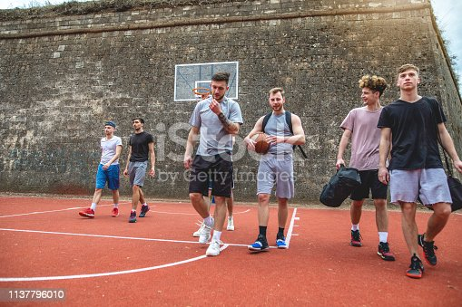 istock Cheerful group coming on a sports court for a basketball game 1137796010