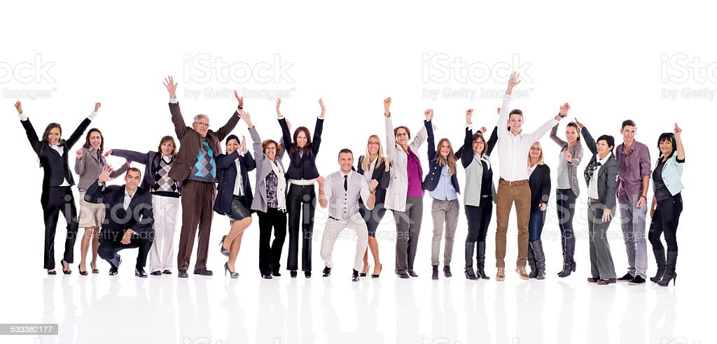 Cheerful group of business people. stock photo