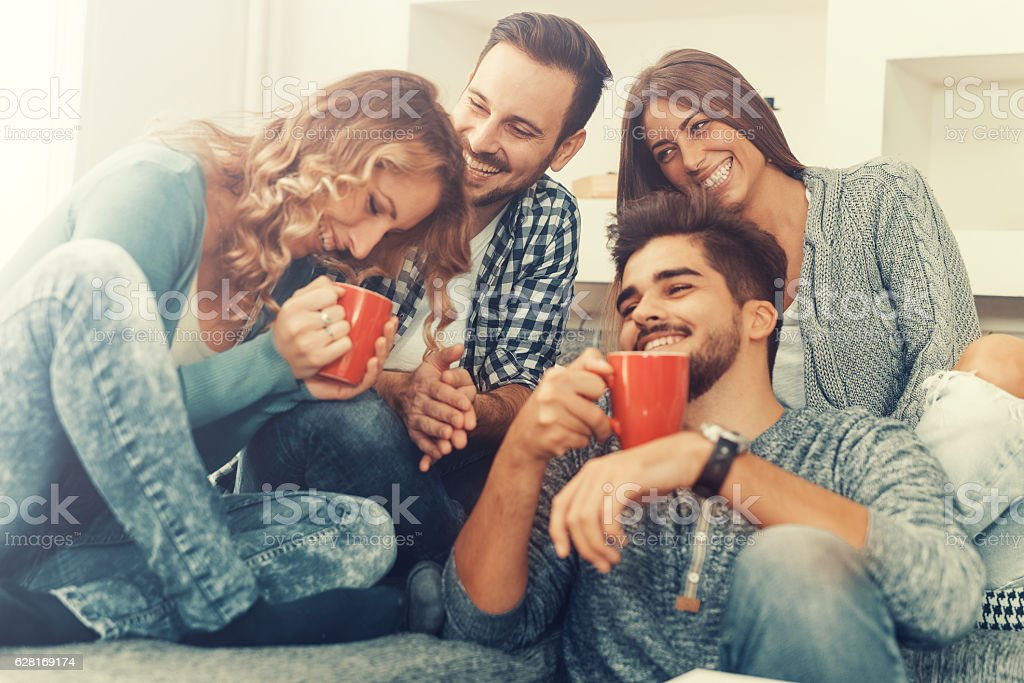Cheerful group of friends having fun at home – Foto