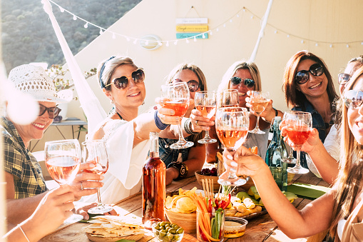 Cheerful group of happy female people clinking and toasting together with friendship and happiness - young and adult women have fun eating - food and beverage celebration concept