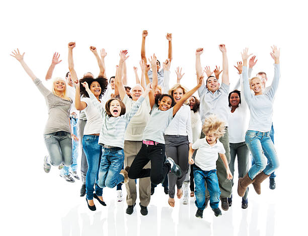 cheerful group of people jumping with raised hands. - african youth jumping for joy stock photos and pictures