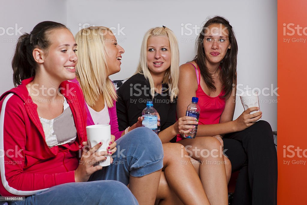 Cheerful group of students stock photo