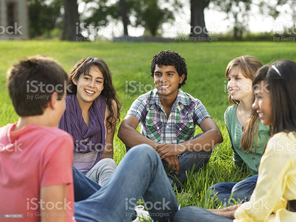 Cheerful group of teens royalty-free stock photo