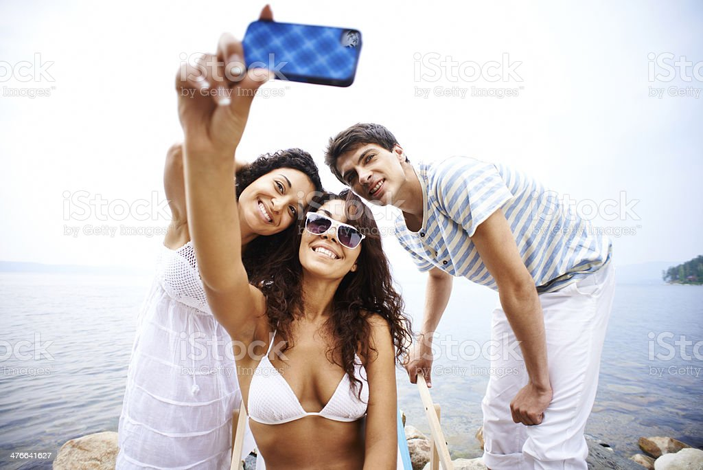 Cheerful group self portrait royalty-free stock photo