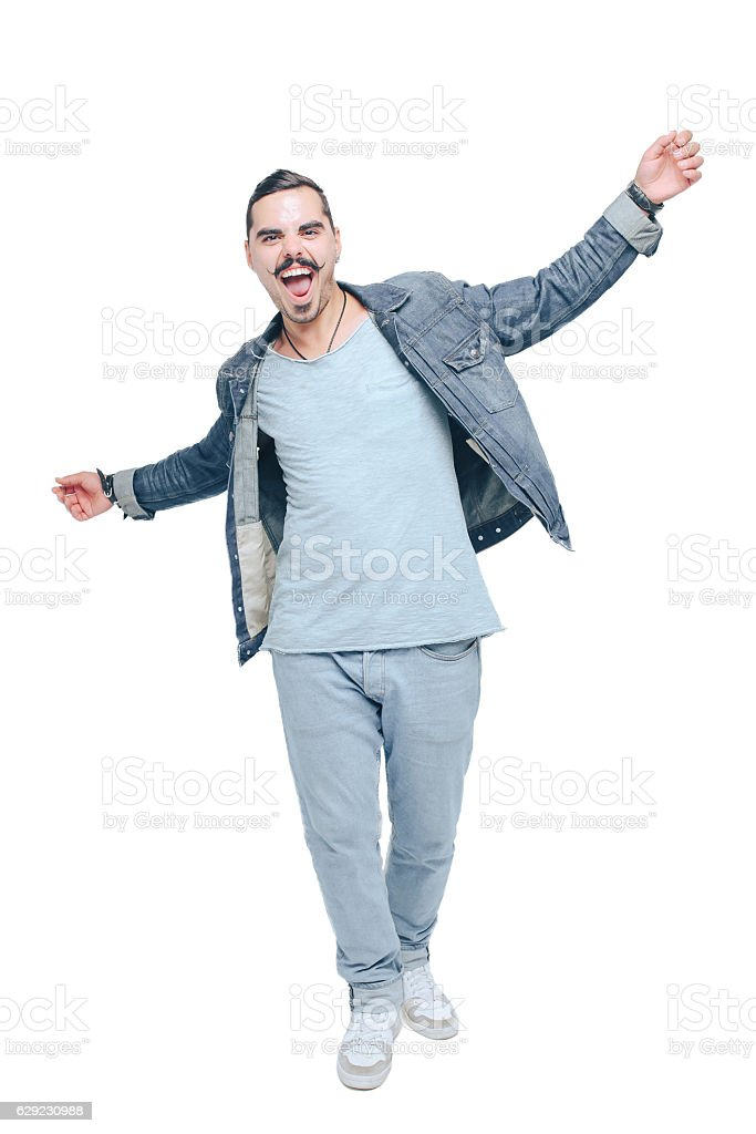 cheerful guy goes through life laughing stock photo