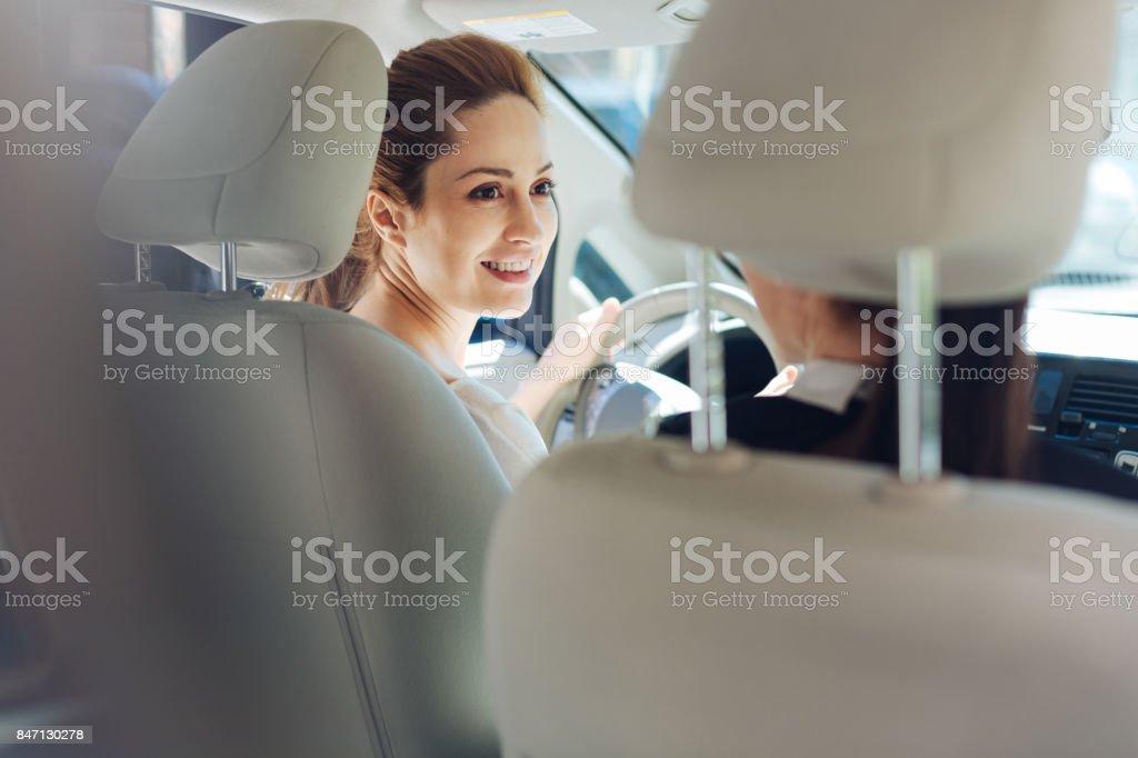 Cheerful happy women having a conversation stock photo