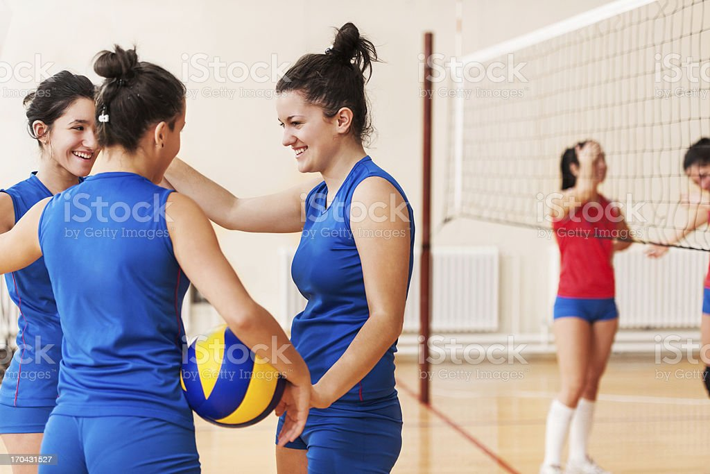 Cheerful high school volleyball team. royalty-free stock photo