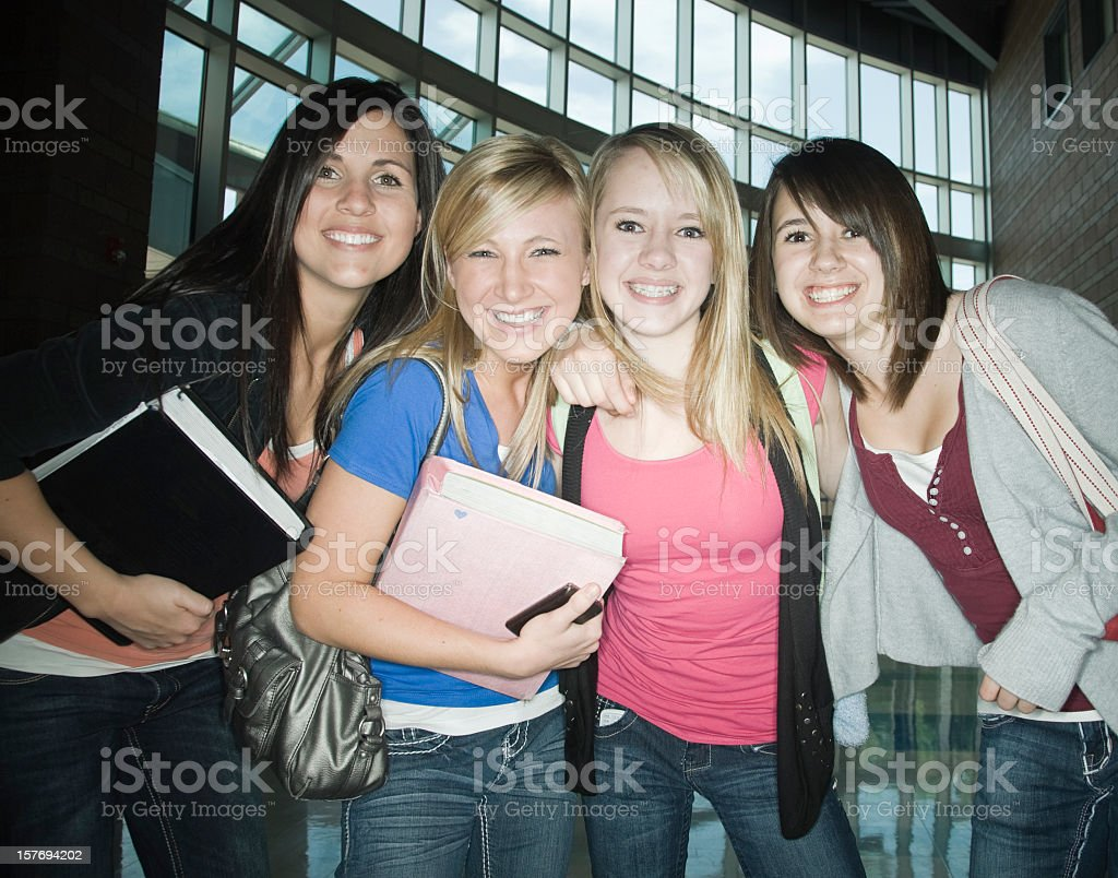 Cheerful Highschool Student Friends royalty-free stock photo
