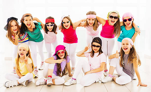 cheerful hip hop dance group. - dance group stock photos and pictures
