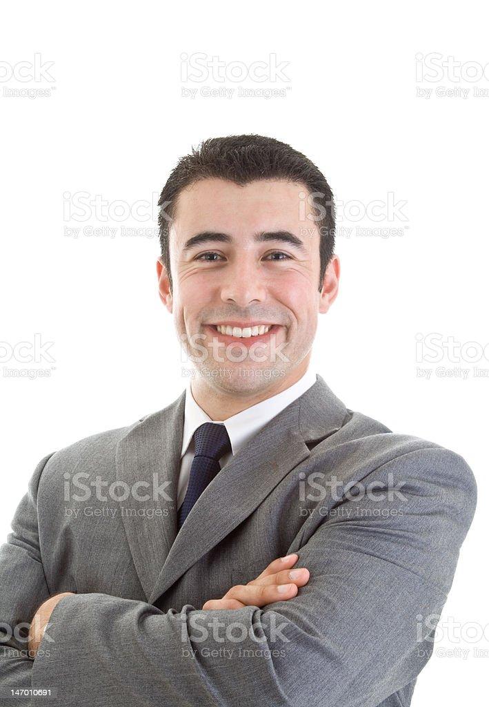 Cheerful Hispanic Man Smiling at Camera royalty-free stock photo