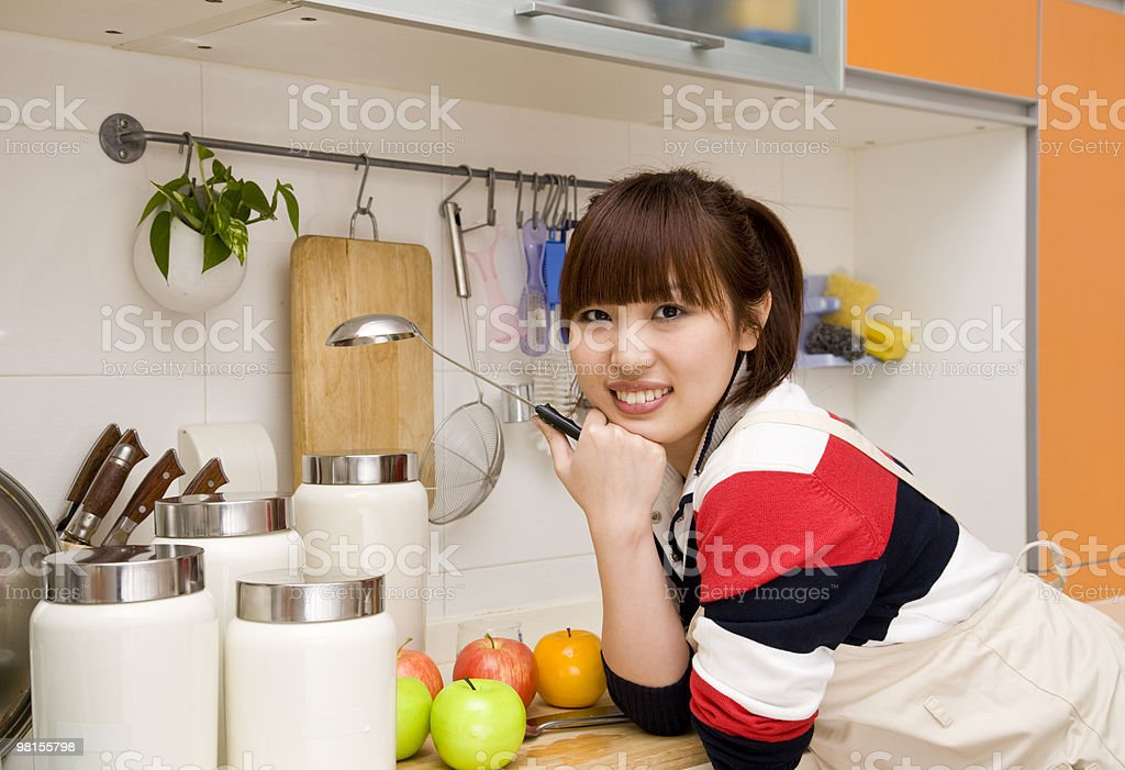 cheerful housewife royalty-free stock photo