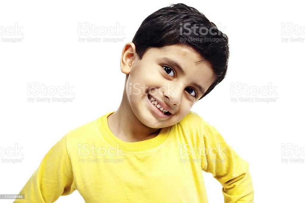 Freudig indische junge Kind isoliert auf weiss – Foto