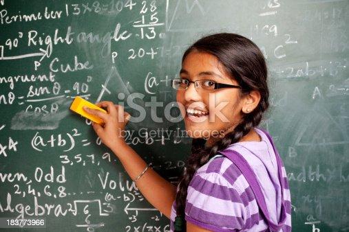 istock Cheerful Indian Girl Student Erasing Mathematics Problems from Greenboard Blackboard 183773966