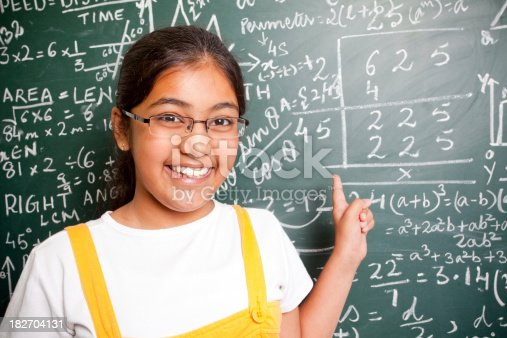 istock Cheerful Indian Girl Student with Mathematics Problems 182704131