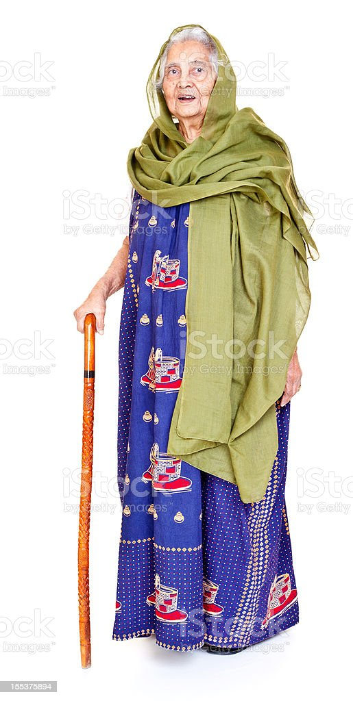 Cheerful Indian Senior Aged Woman with Walking Stick Full Length royalty-free stock photo