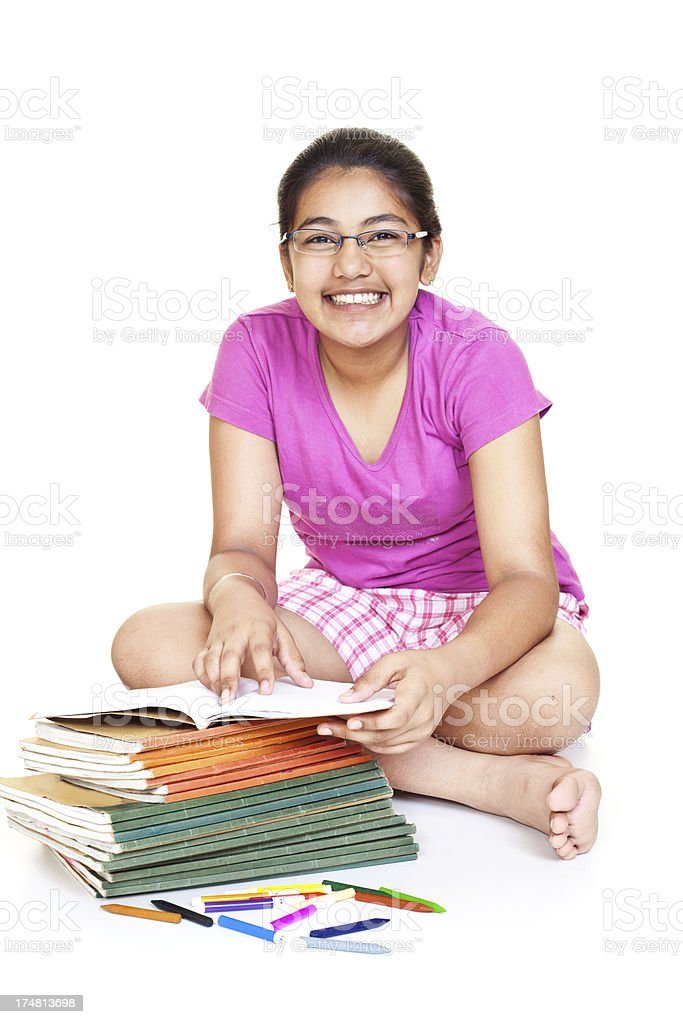 Cheerful Indian Teenager Girl Student with her School Books royalty-free stock photo
