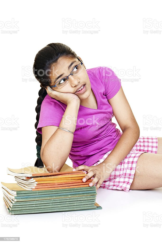 Cheerful Indian Teenager Girl with her School Books royalty-free stock photo