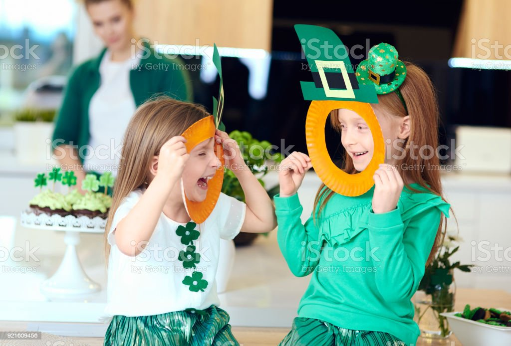 Cheerful irish girl enjoying at home stock photo