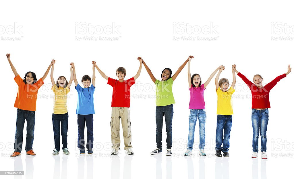 Cheerful kids holding hands and looking at camera. royalty-free stock photo