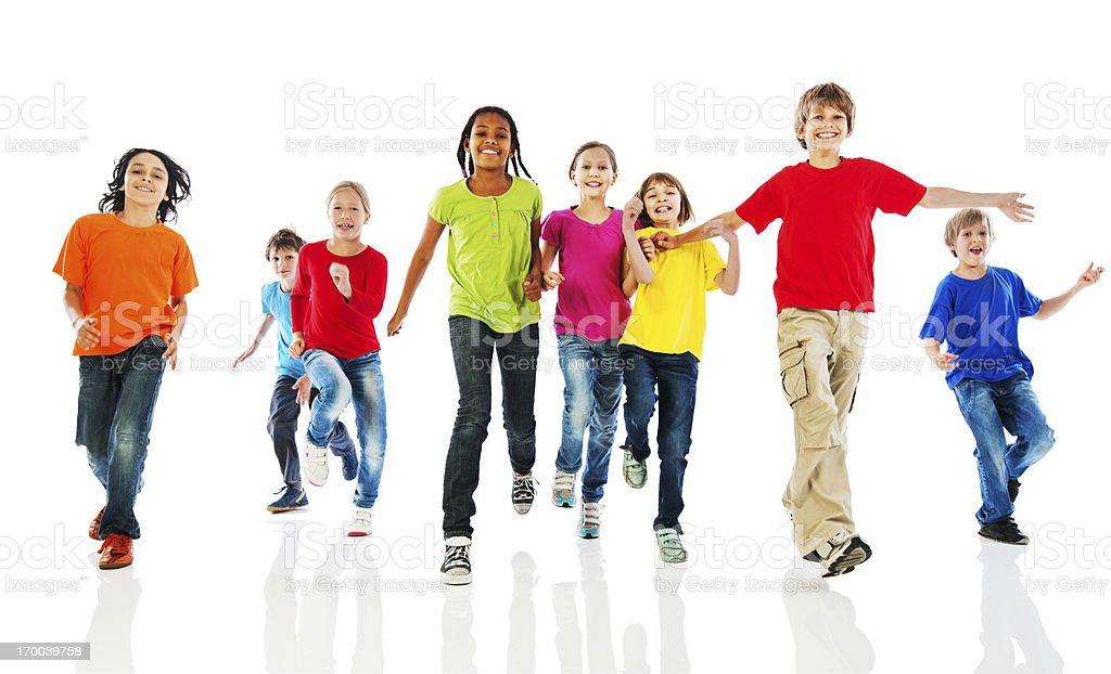 Cheerful kids running. royalty-free stock photo