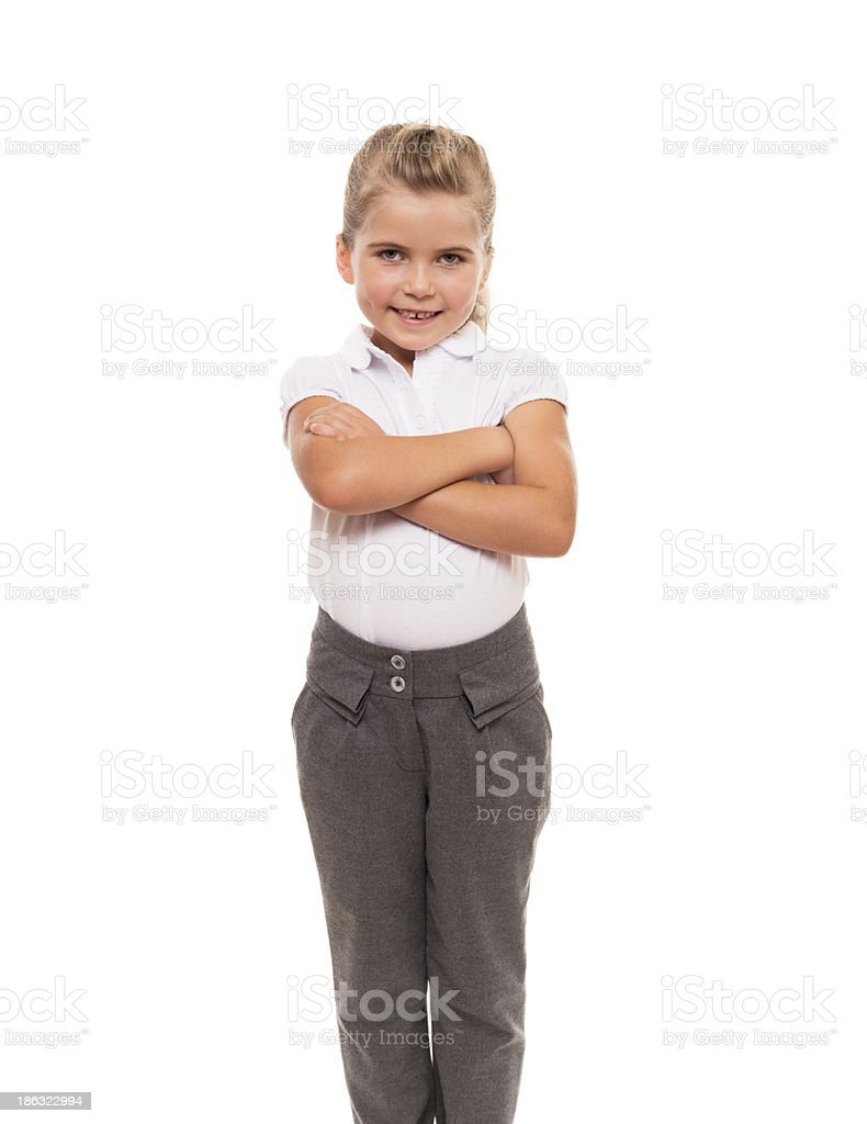 cheerful little girl isolated on white royalty-free stock photo