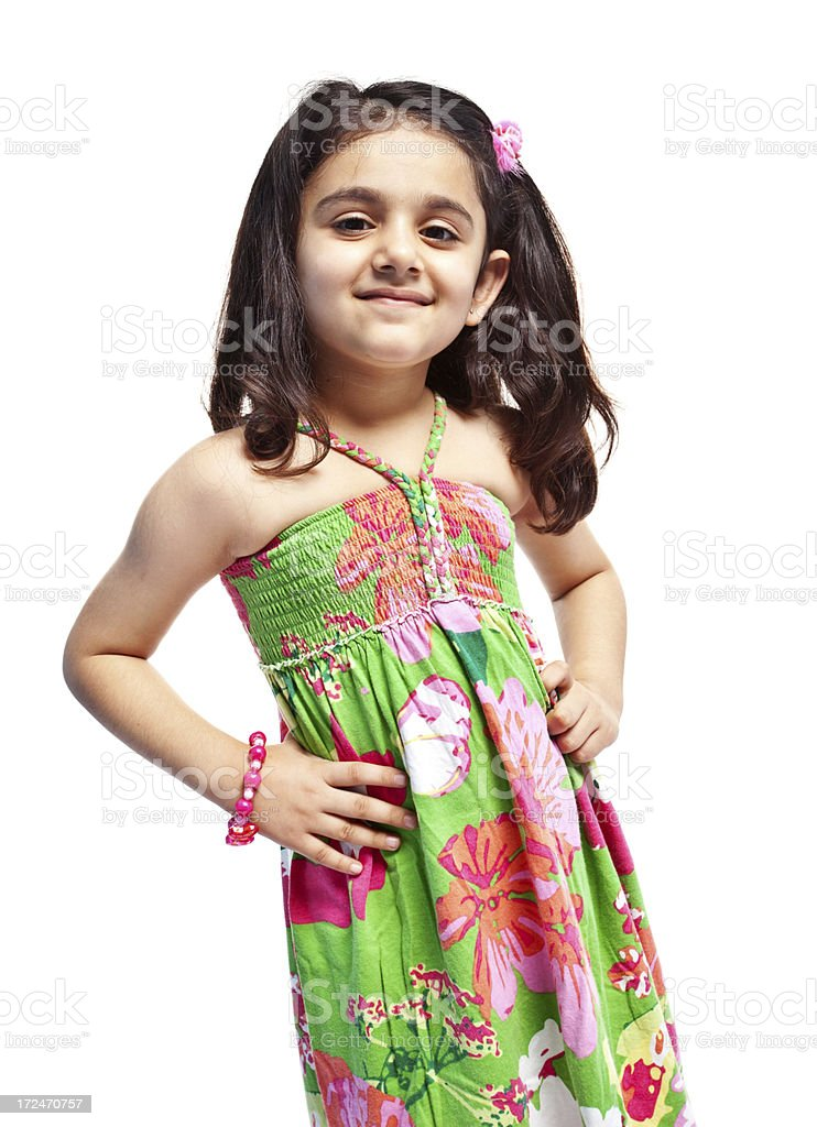 Cheerful Little Indian Girl Isolated on White royalty-free stock photo