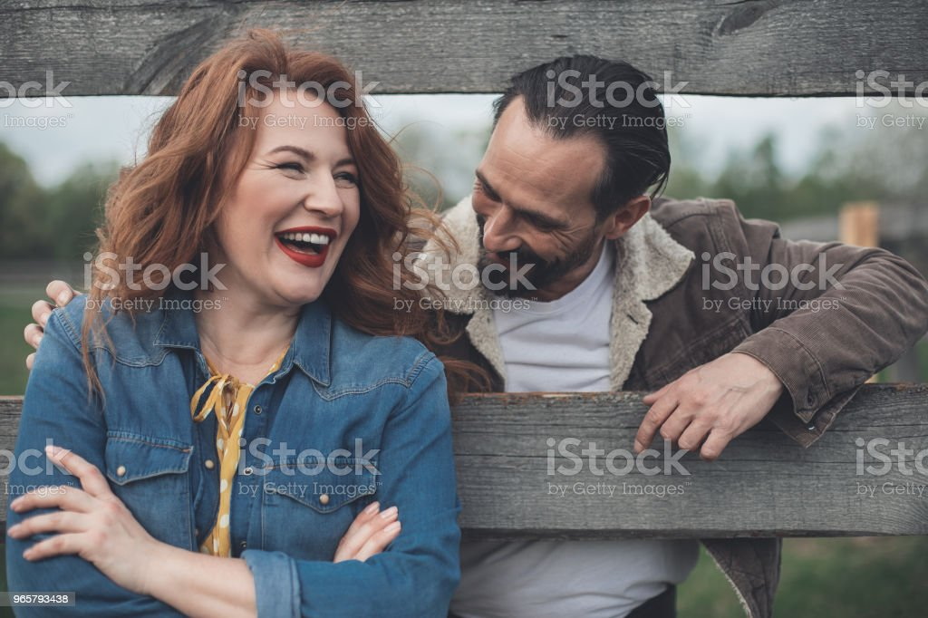 Cheerful lovers flirting and smiling outdoor - Royalty-free Adult Stock Photo