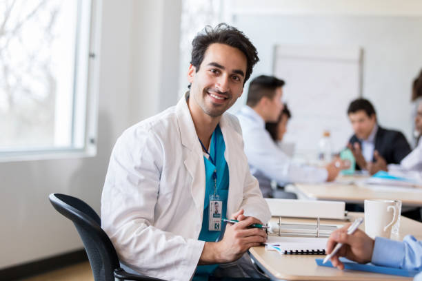 Cheerful male healthcare professional stock photo