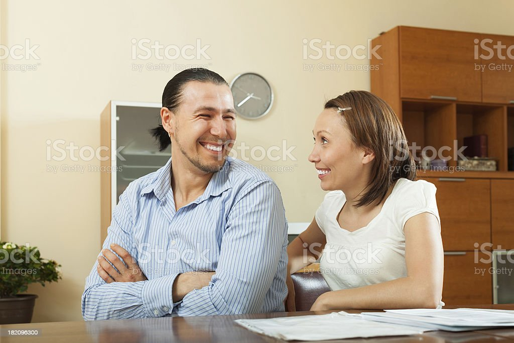 cheerful  man and woman royalty-free stock photo