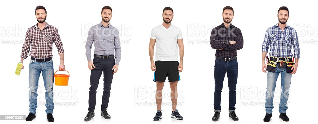 Cheerful man in different situations stock photo