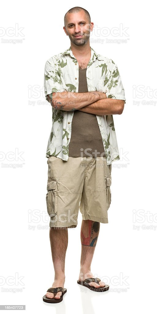 Cheerful Man in Hawaiian Shirt and Shorts stock photo